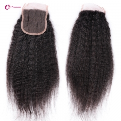 "Brazilian Virgin Hair Lace Closure 4*4 Kinky Straight  Swiss Lace Closures  1B Natural BlacK Top Closure 10""-20"""