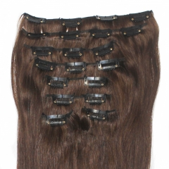 8pcs/set 140g straight clip in hair extension 20 inch 50cm long 100% Brazilian Human Remy clip in hair extension #4 dark brown full head