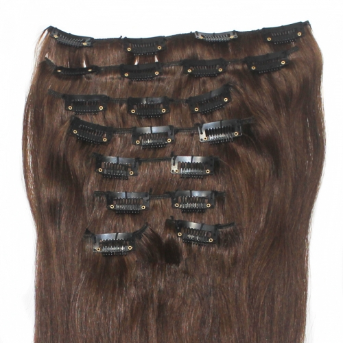 8pcs/set 140g straight clip in hair extension 20 inch #4 dark brown