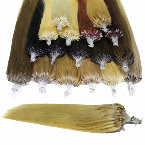 "Brazilian Human Hair Micro Ring Hair Extensions Straight Loop Hair Extension 100g(100beads) 18""-24"" 14 colors"