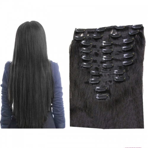 10pcs/set 180g straight 1b natural black clip in hair extension 20 inch long 100% Brazilian Human Remy clip in hair extension
