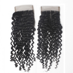 "Brazilian Virgin Hair Lace Closure 4*4  Curly Swiss Lace Closures  1B Natural BlacK Top Closure 10""-20"""
