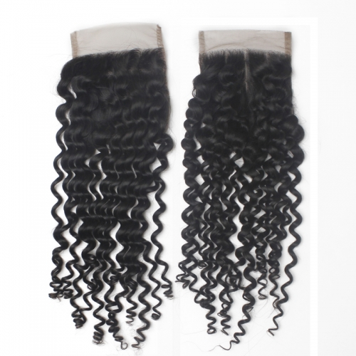 Brazilian Curly Closure 4x4 Swiss Lace Closure Virgin Human Hair