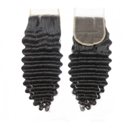 "Brazilian Virgin Hair Lace Closure 4*4 Deep Wave  Swiss Lace Closures  1B Natural BlacK Top Closure 10""-20"""