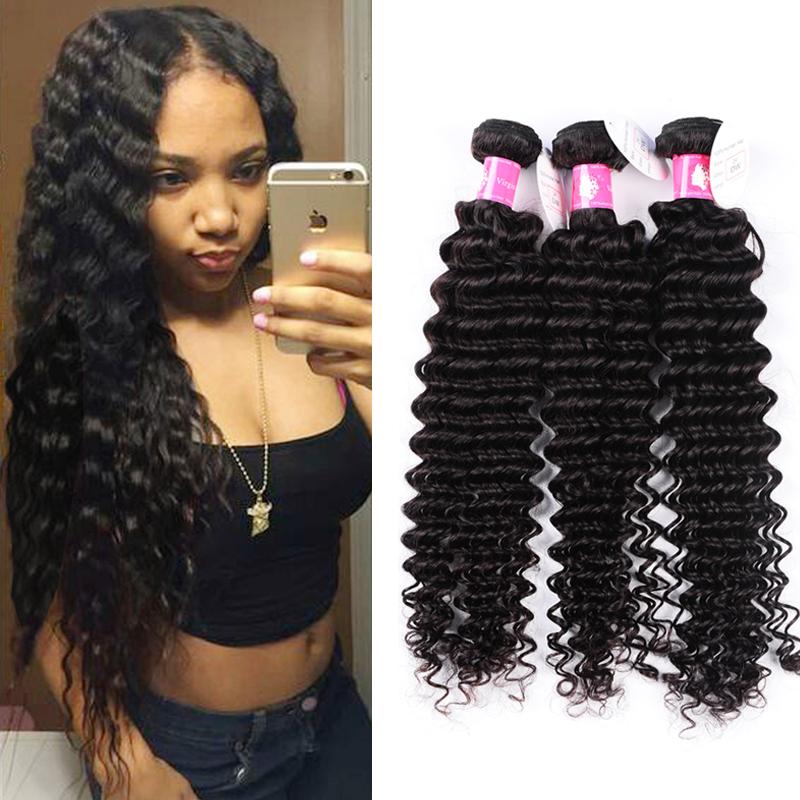 4dddd531223 3-4 bundles Brazilian Deep Wave Virgin Hair Extension Remy Deep Human Hair  Weave