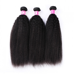 3-4 bundles Brazilian hair Peruvian Virgin Hair Kinky Straight 1B Natural Black Remy Human Hair Weave For Afro Women