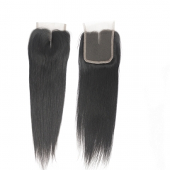"Brazilian Virgin Hair Lace Closure 4*4 Straight Swiss Lace Closures 1B Natural BlacK Top Closure 10""-20"""