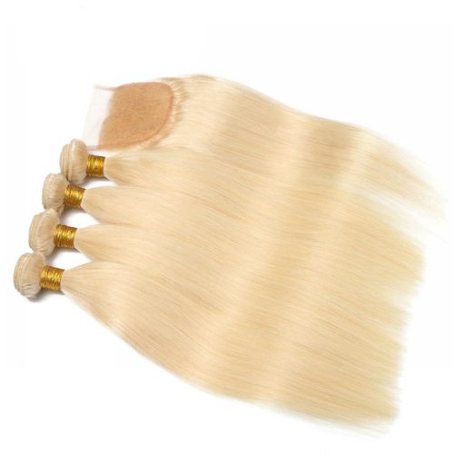 613 platium blonde wavy and straight hair bundles with top lace closures