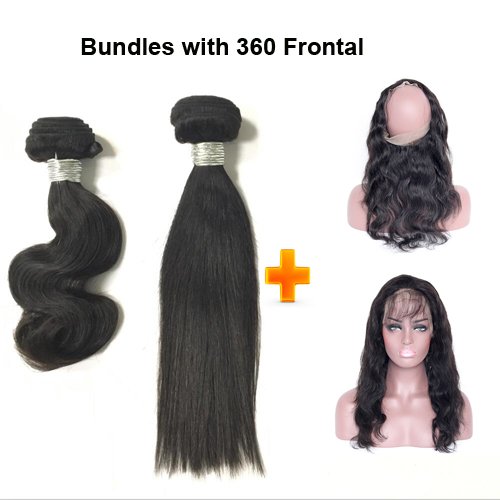 360 frontal with hair bundles straight and body wave Brazilian virgin hair