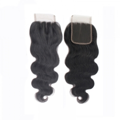 4x4 Lace Closure Body Wave Brazilian Virgin Hair Swiss Lace Closures 1B Natural Black