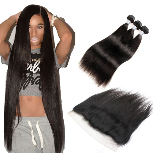 Brazilian Virgin Hair Bundles with Lace Frontal 1B Natural Black Soft Remy Hair Straight Hair Weave with Top Frontal
