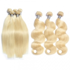8A grade Brazilian blonde body wave hair silky straight bundles blonde hair for sale