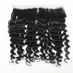 Deep Wave 13x4 Lace Frontal Brazilian Virgin Hair Swiss Lace Frontal