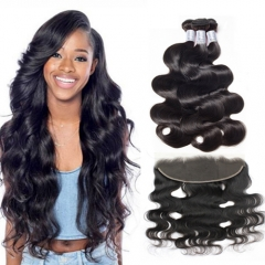 Brazilian Virgin Hair Weave with Lace Frontal Closure 1B Natural Black Soft Remy Hair Body Wave Bundles with Top Frontal