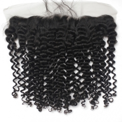 Deep Curly 13x4 Lace Frontal Brazilian Virgin Hair Lace Frontal