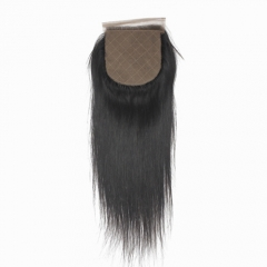"Brazilian Virgin Hair silk base Lace Closure 4*4 Straight Swiss Lace Closures 1B Natural BlacK Top Closure 10""-20"""