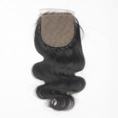 "Body wave silk base Lace Closure 4*4 Swiss Lace Closures 1B Natural BlacK Top Closure 10""-20"""