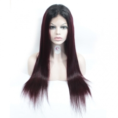straight ombre 1b/99j burgundy colored wigs Brazilian lace frontal wigs U part wig
