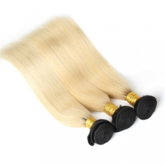 1B 613 Blonde Straight Hair Bundles Ombre Human Hair With Dark Roots
