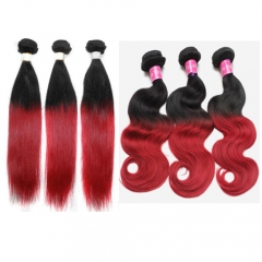 Ombre hair 2 tone 1b/red Brazilian ombre hair weaves straight and body wave hair bundles