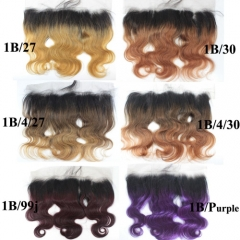 13x4 Ombre Lace Frontal Body Wave Brazilian Hair Color Frontal