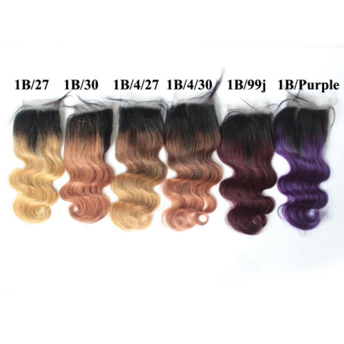 Brazilian Ombre Color Swiss 4x4 Body Wave Lace Closure Virgin Remy Hair Closure