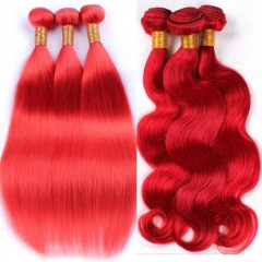 Brazilian red straight hair virgin remy hair color hair red body wave