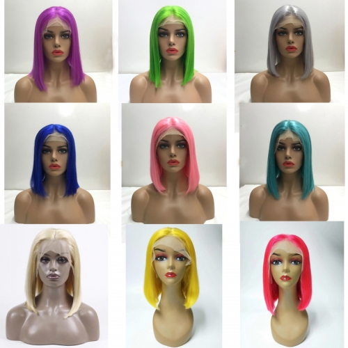 Straight Human Hair Color Bob Wigs Lace Front Wigs For Women