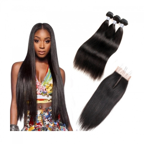 Brazilian Silky Straight Hair With Lace Closure Mink Hair Bundles Virgin Human Hair
