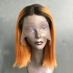Orange lace front wig ombre orange bob wig straight lace wig 180% density