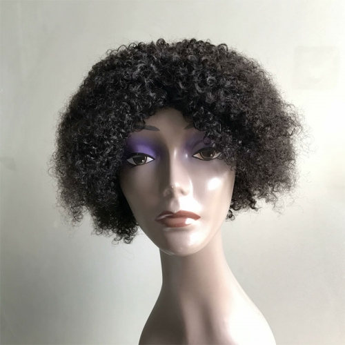 Kinky Curl Short Wig Non Lace Human Hair Wigs Natural Black Pixie Wig