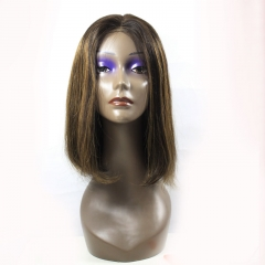 Color Human Hair Straight Bob Wig with Highlights P4/27 P2/6 Piano Color Lace Front Bob Wig