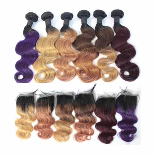 Body Wave Ombre color hair bundles with closure human hair Wavy Brazilian virgin hair