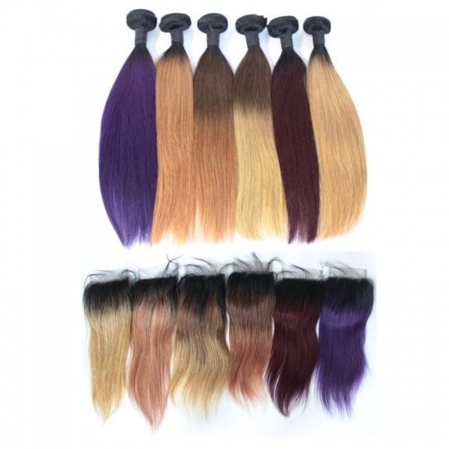 Straight Ombre color hair bundles with closure human hair Brazilian virgin hair