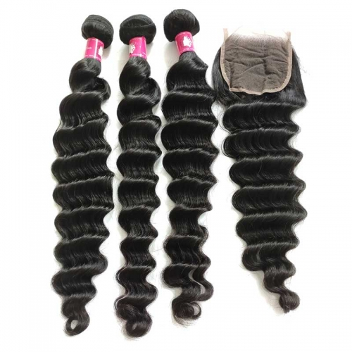 Virgin Brazilian Loose Deep Wave Hair with Lace Closure