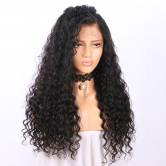 Glueless Deep Wave Front Lace Wig Virgin Human Remy Hair Wigs