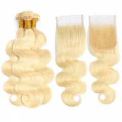 Brazilian 613 blonde body wave hair bundles with lace closures