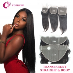 PrePlucked Straight Transparent Invisible Lace Closure For Women Body Wave Frontal Closure Human Hair