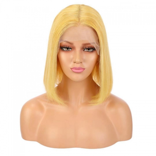 Yellow Straight Human Hair Bob Lace Front Wigs For Women Ombre 1B Orange Pre Plucked Natural Hairline Bob Wigs