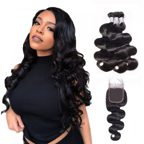 Brazilian Body Wave Bundles with 4x4 Lace Closure Virgin Human Hair 1B Natural Black
