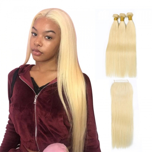 613 platium blonde silky straight hair bundles with lace closures