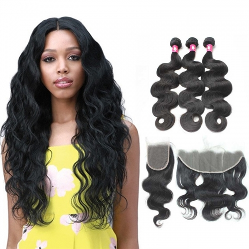 Transparent Lace Frontal Closure Mink Brazilian Body Wave Hair Bundles With Closure
