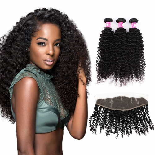 Brazilian Deep Curly Hair Bundles with Lace Frontal Closure 1B Natural Black Soft Remy Hair