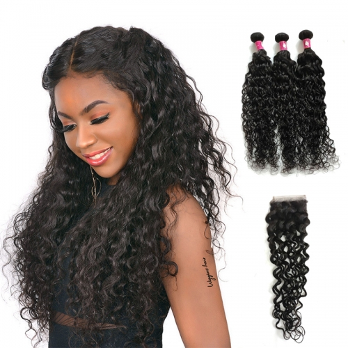 Mink Brazilian Water Wave Hair Bundles with Lace Closure 100% Human Hair