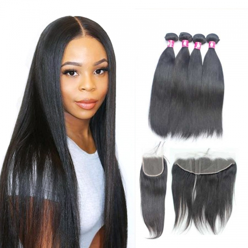 Mink Brazilian Straight Hair Bundles With Transparent Lace Closure Transparent Lace Frontal Straight Human Hair