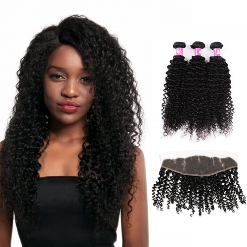 Brazilian Deep Curly Virgin Hair Weave with Lace Closure Curly Bundles with Top Closure