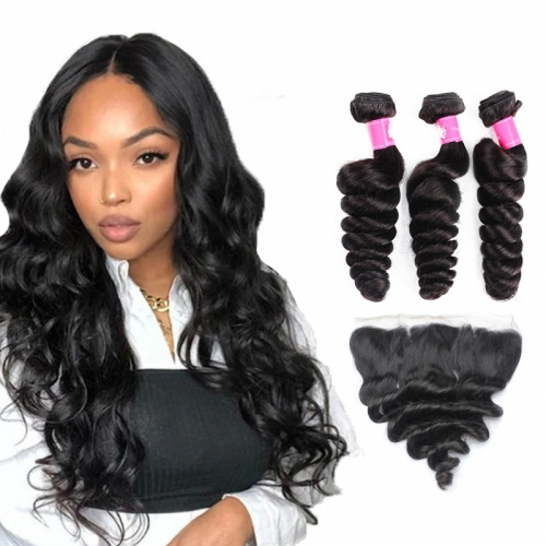 Brazilian Loose Wave Bundles with Lace Frontal Closure 1B Natural Black Soft Remy Hair