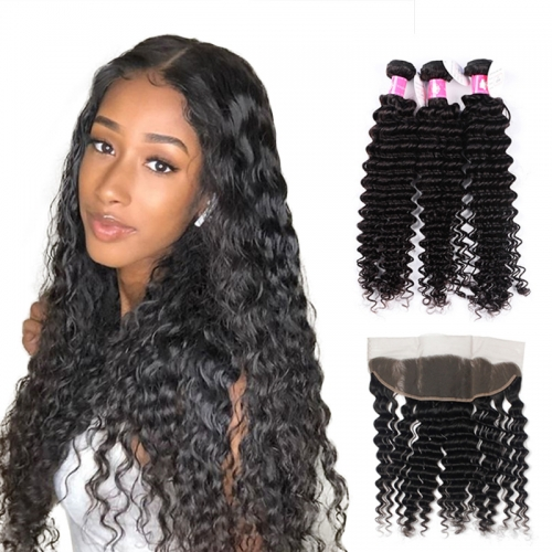 Brazilian Deep Wave Bundles Virgin Hair Weave with Lace Frontal Closure 1B Natural Black Soft Remy Hair