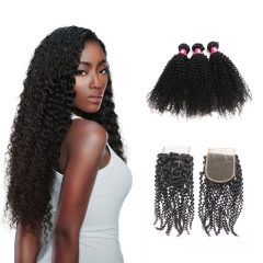 Brazilian Kinky Curly Human Hair Bundles with Lace Closure 1B Natural Black Soft Hair