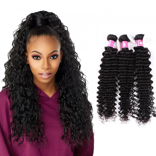 Brazilian Deep Wave Virgin Hair Extension Remy Hair Deep Wave Bundles